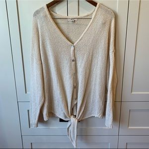 Anthropologie front-tie, button-up cardigan
